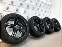 "GENUINE 18"" AUDI SLINE ALLOY WHEEL & TYRES - 5 x 112 - GLOSS BLACK"