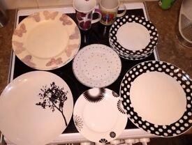 22 mixed 6 Dinner plates ~ Tea plates ~ 7 new Bowls ~ 2 Mugs