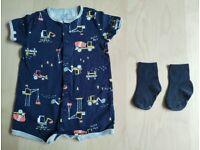 Brand New 2 Piece Carter's Construction Print Baby Clothes Bundle Set 12-18 Months
