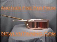 "Fine 14"" English made Helvetia (Leon Jaeggi) copper saute pan saucepan pot stockpot"