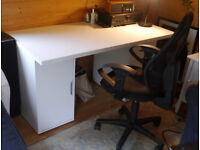 IKEA white office desk with drawers & Topstar German orthapedic swivel chair