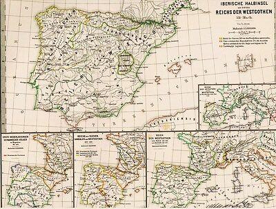 Echte 146 Jahre alte Landkarte SPANIEN Westgoten Vandalen Sueven 1871