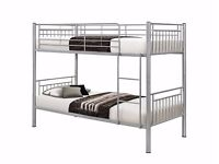 LIMITED OFFER - WHITE or SILVER METAL BUNK BED FRAME ONLY £79 - MATTRESS OPTION AVAILABLE