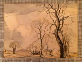 Old watercolour-signed unframed