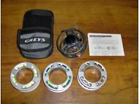 Greys GTX Fly reel + 3 x Spools, Two with line