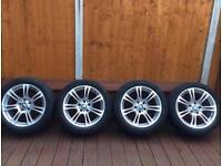 "Genuine BMW 18"" M Sports alloy wheels with run flat tyres."