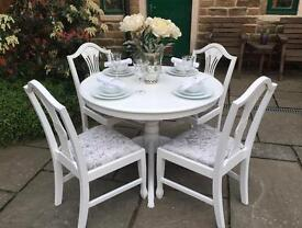 White Vintage Round Extending Dining Table & 6 Silver Grey Crushed Velvet Upholstered Chairs