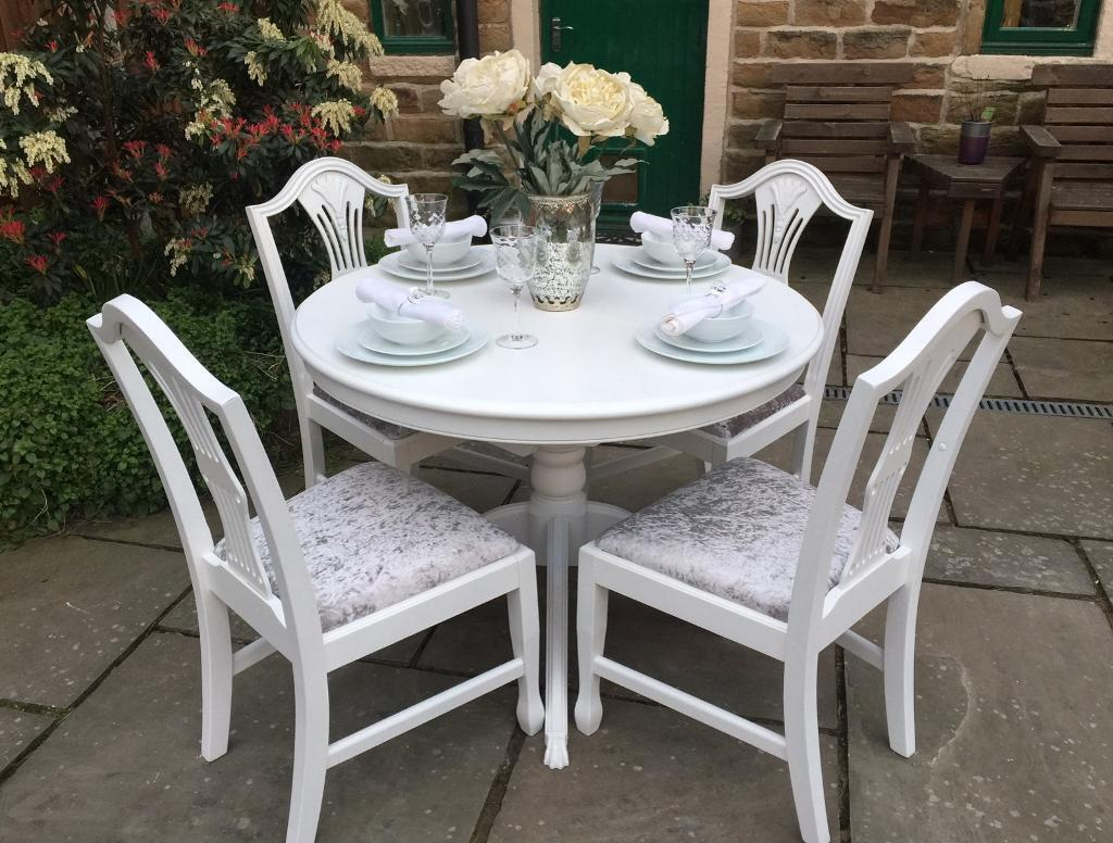 White Vintage Round Extending Dining Table 6 Silver Grey Crushed