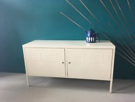 Fantastic White Metal Industrial Style Storage Cabinet Sideboard