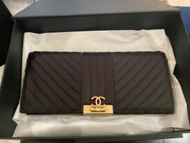 Chanel Black CC Chevron-Quilted Clucth Bag - NEW IN BOX! Never Worn.