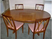 Oval Teak Dining Table & 4 chairs G Plan