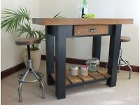 Lovely Rustic Style Butchers Block Kitchen Island/Breakfast Bar & Two Stools