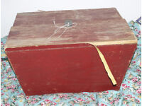 very large vintage wooden box/trunk/chest (for restoration) bicycle/tricycle back box ideal toy box