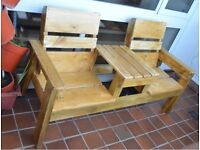 Garden Patio conservatory Bench Armchairs for two with coffee table
