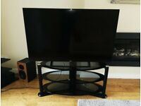 TV STAND NEXT 3 level. Oval. Smoked Glass. Black. Cable Tidy