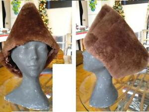 MENS CUSTOM Hand-Sewn Warm SHEEPSKIN SHEARLING REAL FUR HAT Cossack WINTER RUSSIAN CAP Brown SEE SIZING CHART XS to XL