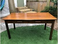 Vintage wooden teacher's desk with two drawers