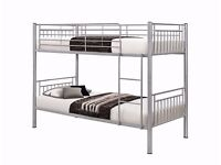 Metal Bunk Bed\Single\Children Bed In White Black and Silver Colors Without Any Delivery Charges