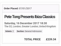 Pete tong Ibiza classics tickets, 02 arena standing tickets.