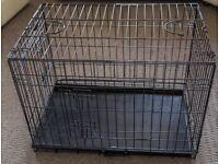 "Dog Crate. Medium 30"" Portable Black with 2 doors, Metal Tray."