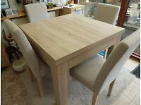 DINING TABLE AND 4 CHAIRS - table can be made double in size