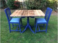 Vintage Drop Down Dining Table & 2 Chairs