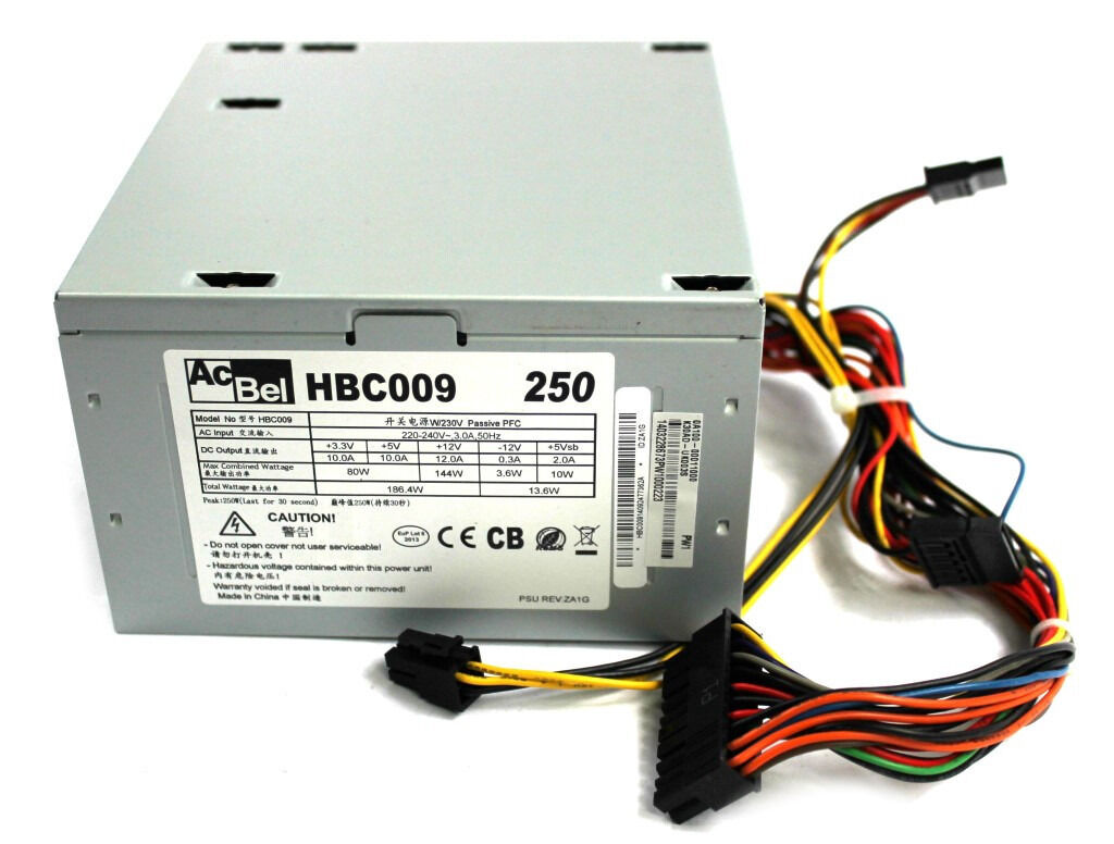 HBC009 AcBel 250W ATX Desktop Power Supply PSU FROM Asus K30AD PC ...