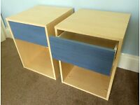 Pair of Bedside Cabinets with Blue Drawer