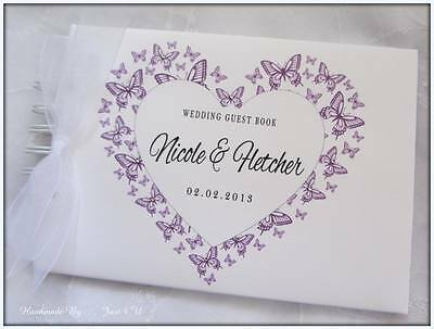PERSONALISED BUTTERFLY HEART WEDDING/ ANNIVERSARY* GUEST BOOK* SCRAPBOOK ALBUM