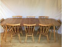 Vintage Ercol extending Grand Plank dining kitchen table 1960s 1970s Mid Century retro 10 seater
