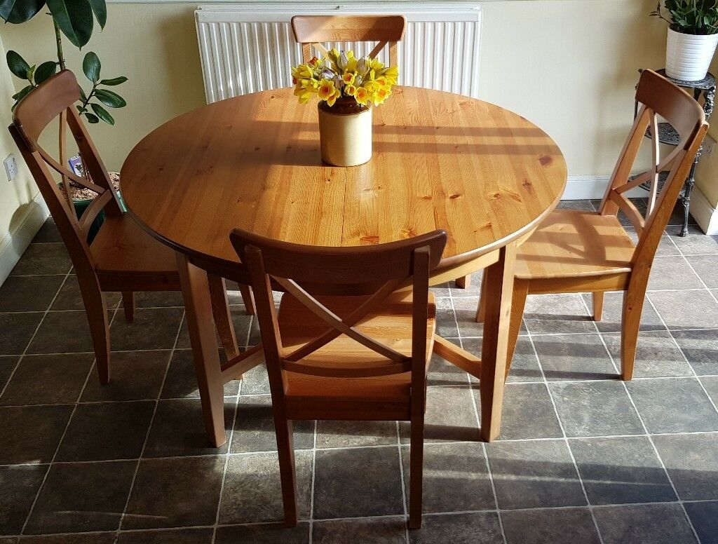 Extendable Oak Veneer Ikea Dining Table And 6 Solid Pine Chairs