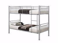 KIDS' OFFER! Metal Bunk Bed Frame Silver n White Single Bottom Single Top for Adult & Children