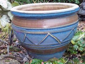 Blue decorated plant pot
