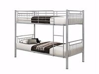 SILVER 3FT SINGLE METAL BUNK BED WITH DIFFERENT MATTRESSESES