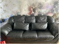 Black Genuine Leather SCS 3 Seater Sofa with 2 Leather Cushions