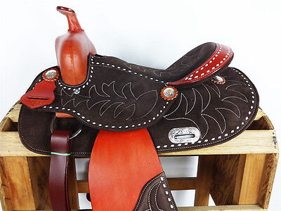 """14"""" BROWN LEATHER SUEDE BUCK STITCH WESTERN COWBOY TRAIL HORSE SADDLE TACK"""