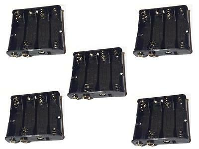 Lot 5 Pcs New 4AA 2A Battery 3V Clip Holder Box Case With Snap Connector
