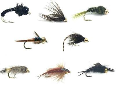 6  BEAD HEAD HARES EAR BLACK  NYMPHS  SIZE 10  LIGAS FLY FISHING FLIES
