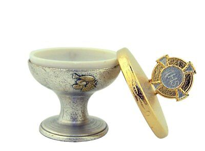 - Silver and Gold Two Toned Metal JHS Chalice First Communion Keepsake Box,2 1/2in