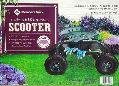 Member's Mark Garden Scooter 360° Swivel Adjustable Seat, 300 lbs Capacity New