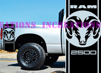 Hemi Dodge Ram Head 2500 Bed Stripes Truck Decals Mopar Stickers Set of 2 Racing