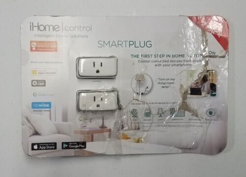 iHome Control Smart Plug iSP5 Apple HomeKit Android Nest Alexa Compatible 2 Pack