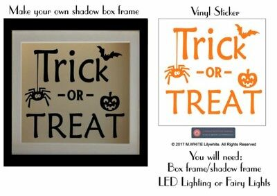 Trick or Treat Sticker Novelty Halloween Sticker for Shadow/Box Frame project - Halloween Shadow Projection