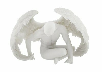 Male Angel Figurines (Nude Winged Male Angel Sitting Statue Marble Finish Sculpture  )