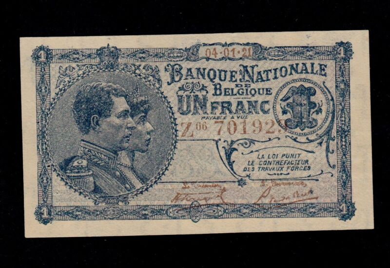 BELGIUM  1  FRANC  1921  PICK # 92 UNC LESS.