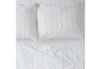 Rachel Ashwell Sheets -  Rachel Ashwell Couture WESTMINSTER STRIPE BLUE Full Fitted Sheet Cotton NWT