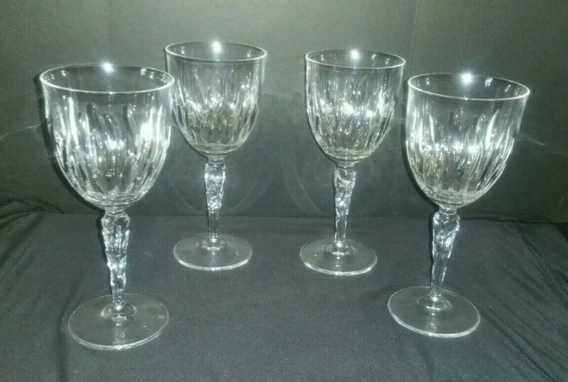 TIFFANY & CO CRYSTAL WINE CLARET CRYSTAL GLASS CHRYSANTHEMUM PATTERN SET 4