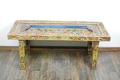 Beeindruckender Holz Tempel Tisch reich beschnitzt u. gefasst Südostasien 20.Jhd