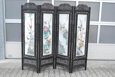 205x183 cm Paravent Raumteiler 8 Gemälde Porzellan China wohl um 1900/20