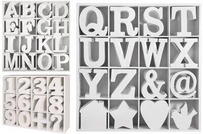 3D Holz MDF Buchstaben weiß 11 cm Deko Schrift Alphabet A-Z Zahlen Namen Symbole
